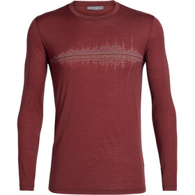 Icebreaker Tech Lite Snow Wave LS Crewe Shirt Men cabernet
